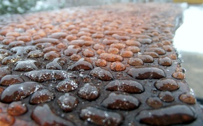 Картинка вода, капли, макро, камни, дождь, тротуар, мостовая, rain, Water, rocks, macro, drops, булыжники, pavement