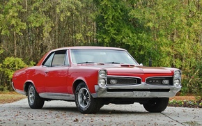 Картинка ретро, red, muscle car, гто, coupe, 1967, retro, купе, classic, hardtop, gto, понтиак, классика, красный, ...