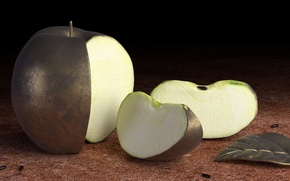 Картинка металл, яблоко, твердое