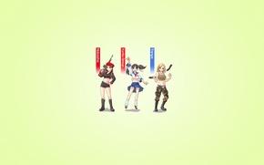 Обои оружие, девушки, минимализм, три, red alert, светлый фон, трое, Command & Conquer, Наталья Волкова, Татьяна ...