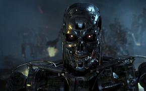 Обои война, роботы, терминатор