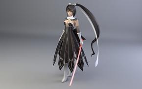Картинка девушка, аниме, воин, фигурка, 3d model free download