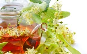 Картинка чай, чайник, липовые цветы