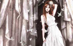 Картинка цветок, девушка, занавес, белое платье, Листопад