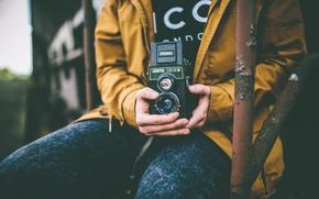 Картинка камера, руки, мужчина, пиджак, боке, городских, 166B, Lubitel