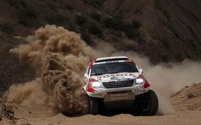 Картинка Песок, Поворот, Toyota, Hilux, Rally, Dakar, Дакар, Тойота, Передок