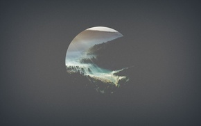 Картинка минимализм, горы, лес