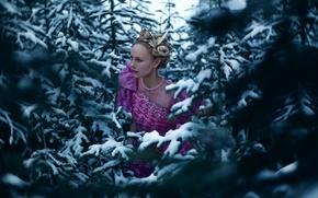 Картинка лес, девушка, снег, ёлки, Lichon, Colleen, No Quarter