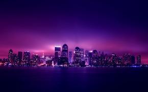 Обои ночь, city, город, огни, здания, небоскребы, night, New York, Manhattan
