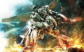 Обои война, робот, трансформеры