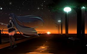 Обои hatsune miku, небо, арт, аниме, девушка, звезды, гитара, фонари, vocaloid, закат