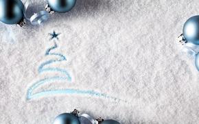 Обои фон, снег, рисунок, узор, ёлка, звезда