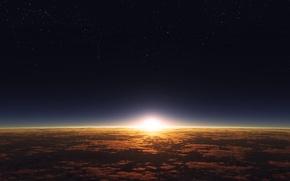 Картинка облака, поверхность, восход, рассвет, звезда, планета, атмосфера, звёздное небо