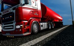 Картинка red, streamline, super, truck, lady, trucks, low, Scania, diesel, lowered, R580, rjl, EuroTruckSimulator, lowdeck, elsa3dany1, …