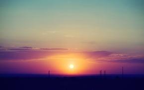 Картинка clouds, sun, pole, plain, lowland, Sunset, road, sky, nature, utility pole, landscape
