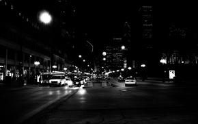Картинка небоскребы, сша, такси, Chicago, машины, чикаго, улица, ночь, америка, здания, центр
