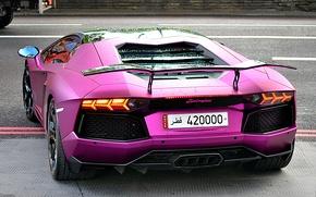 Картинка фиолетовый, lamborghini, задок, свет фар, aventador, lp700-4, ламборгини, авентадор, violet, антикрыло