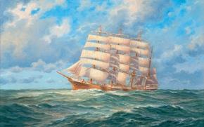 Картинка небо, облака, корабль, парусник, картина, горизонт, холст, море. волны, масло. художник Adolf Konrad Walter Bock