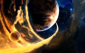 Обои Шлейф, Phlegethon, Планеты, Звезды, Пламя, Ракета