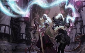 Картинка оружие, магия, арт, парень, девушка, эльфы, дроу, Dungeons and Dragons, паук