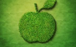 Картинка трава, яблоко, 3d