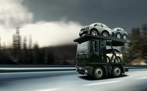Обои грузовик, автовоз, микро