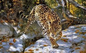 Обои Donald Grant, ягуар, осень, арт