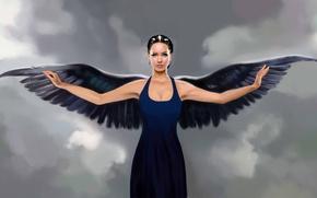 Картинка взгляд, девушка, лицо, фантастика, крылья, ангел, руки, платье, арт, angel