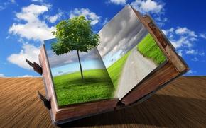 Картинка дорога, трава, облака, креатив, дерево, книга