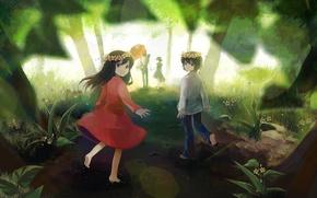 Картинка дорога, лес, деревья, цветы, природа, дети, улыбка, зонт, аниме, мальчик, семья, арт, девочка, пикник, ame, …