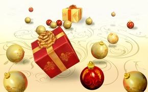 Картинка подарок, новый год, лента, бантик, праздники, новогодние игрушки