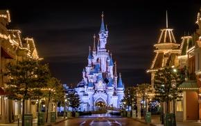 Картинка ночь, огни, парк, Калифорния, USA, США, Диснейленд, Disneyland, Анахайм, Parks