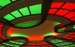 Обои свет, огни, лампы, цвет, потолок, зал