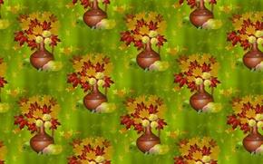 Картинка осень, листья, фон, букет, текстура, кувшин