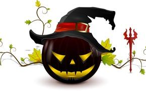Картинка halloween, creepy, Хэллоуин, жуткие, палку дьявола, witch hat, тыквы страшные, devil stick, ведьма шляпу, scary …