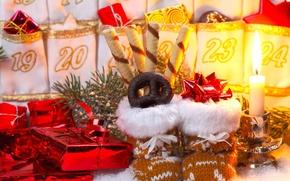 Обои Рождество, Новый год, Christmas, sweet, свеча, New Year, gifts, candle, подарки, baking