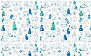Картинка фон, праздник, текстура, мишка, Новый год, ёлочка, снежинка, звёздочка