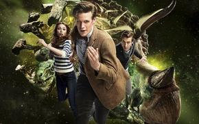 Обои космос, Доктор, динозавры, сериал, Doctor Who, Доктор Кто, Эми, Amy Pond, Эми Понд, Arthur Darvill, ...