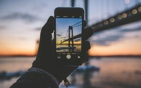 Картинка картина, зима, iPhone, Бронкс-Уайтстон моста, рука, Бронкс, Нью-Йорк, Ист-Ривер, Соединенные Штаты, Квинс, Лонг-Айленд, перчатка, пейзаж, ...
