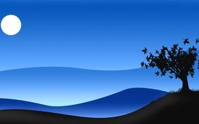 Картинка небо, ночь, дерево, луна, куст, силуэт