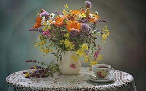 Картинка чай, лилия, букет, чашка