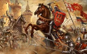 Картинка крепость, воины, рыцари, Сражение при Креси, Французы, Столетняя война, Англичане