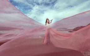 Картинка небо, цвет, меч, платье, ткань, азиатка
