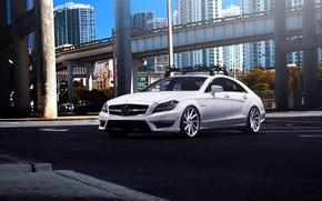 Картинка белый, Mercedes-Benz, white, мерседес, AMG, tuning, CLS63, vossen wheels