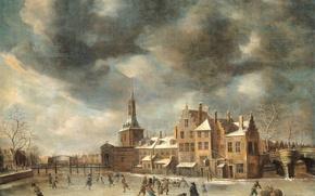 Картинка пейзаж, картина, Синие Ворота в Лейдене Зимой, Ян Авраам Беерстратен