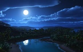 Картинка звезды, облака, пейзаж, ночь, дом, река, пальмы, холмы, луна, арт