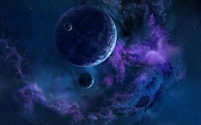Картинка космос, звезды, планеты, туманности