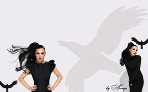 Картинка белый, чёрный, певица, ёлка, ворон, r'n'b