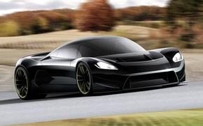 Обои авто, дорога, чёрная, машина