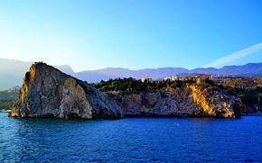 Картинка море, осень, небо, закат, камни, ялта, гурзуф